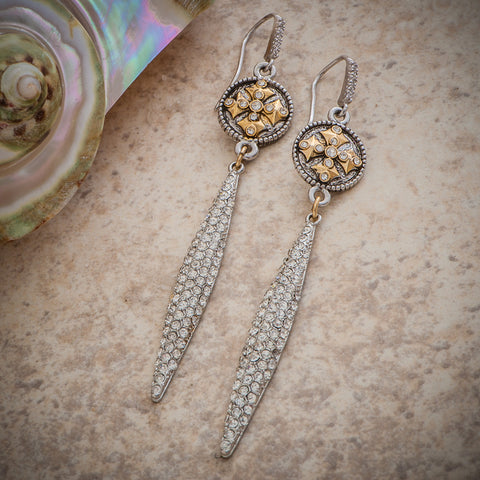 BARONESS CANTERBURY CROSS CRYSTAL TEARDROP EARRING