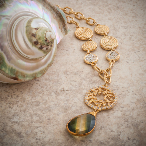 AMETRINE & CRYSTAL VINE TEARDROP NECKLACE
