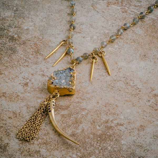 DRUZY TASSEL SPIKE NECKLACE