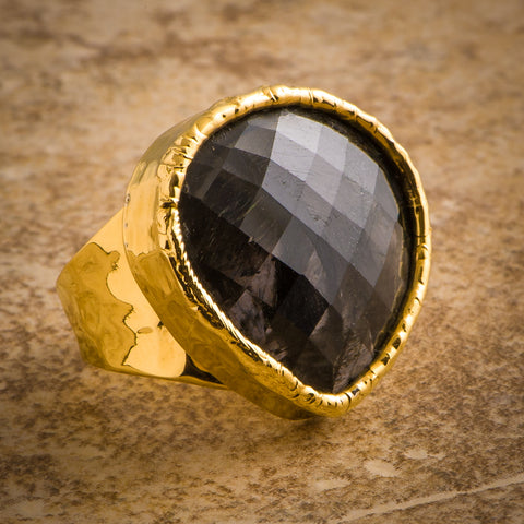 FACETED BLACK AMETHYST RING