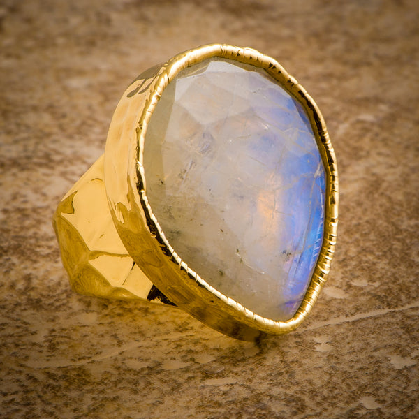 FACETED MOONSTONE STATEMENT RING