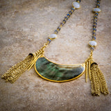 HALF MOON TASSEL STATEMENT NECKLACE