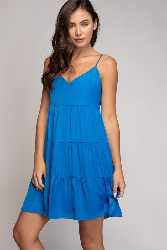 Electric Blue Tiered Dress