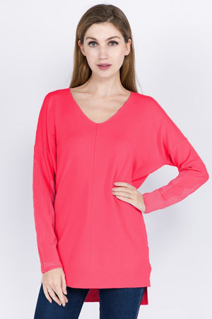Coral Hot Pink  V Neck Sweater