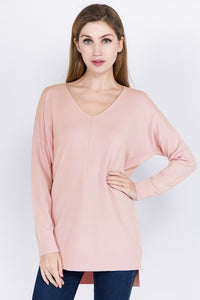 Heather Peony  V Neck Sweater