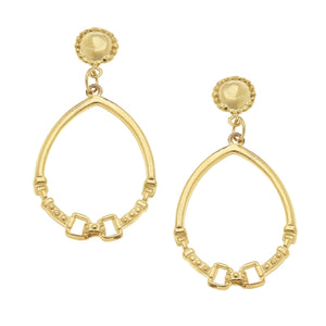 Susan Shaw - Gold Cab and Horse Bit Hoop Earrings - Miss Scarlett Boutique