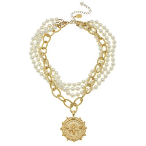 Susan Shaw - Multi-Strand Pearls with Gold Bee Necklace