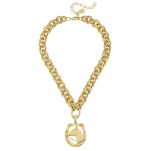Susan Shaw - Handcast Gold Horseshoe and Pendant Necklace - Miss Scarlett Boutique
