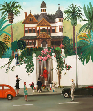 "Janet Hill Studio - Who Lives In That House High Above The Sunset Strip? 8.5""x11"