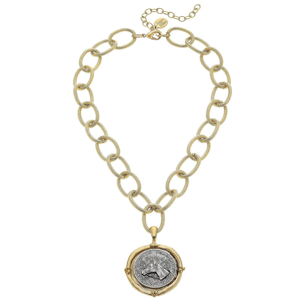 Susan Shaw - Handcast Gold and Silver Horse Necklace