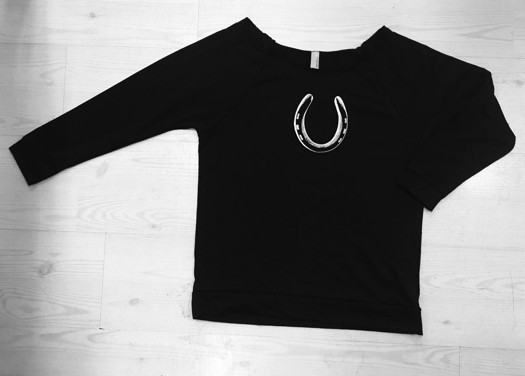 Horseshoe Slouchy Sweatshirt - Miss Scarlett Boutique