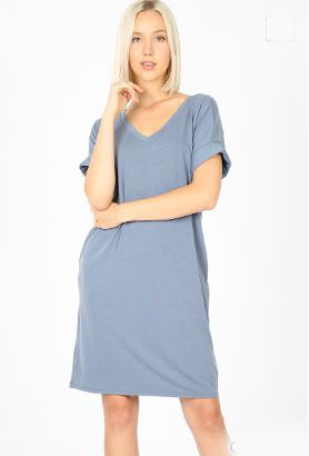 Rolled Sleeve Dress - Miss Scarlett Boutique