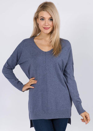 Heather Steel Blue V Neck
