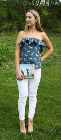 Strapless Ruffle Horse Print Top - Miss Scarlett Boutique