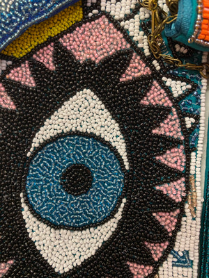 Beaded purse with chain strap