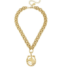 Gold Horse Horseshoe necklace - Miss Scarlett Boutique
