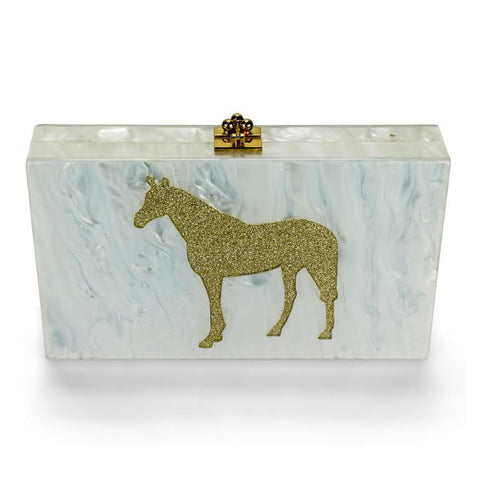 Exclusive Horse Lucite Clutch Purse
