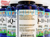 6PK MAX Coenzyme Q-10 400mg | 6x100 Cap Heart Healthy CoQ10 | Vitamins Because