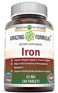 Amazing Formulas Iron 65 Mg 240 Tablets ?Iron As Ferrous Sulfate For Better