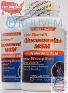 2PK Triple Strength Glucosamine MSM Plus Hyaluronic Acid | Joint Support 60 Cap