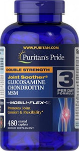 480 Cap | Puritans Pride Double Strength Glucosamine, Chondroitin and MSM Joint