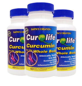 3PK.CurQLife® Organic Curcumin (Tumeric) for Joint Health by Earth's Creation