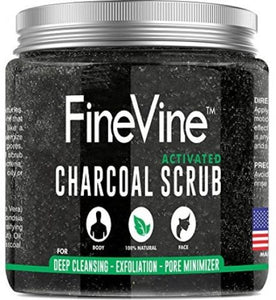 Activated Charcoal Scrub - Made in USA - For Deep Cleansing, Exfoliation, Acne