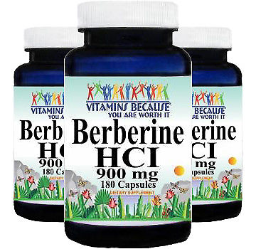 Berberine HCI 900mg 180 -Glucose Support -Depression -Natural Antimicrobial 3PK