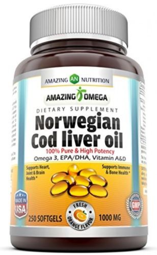 Amazing Omega Norwegian Cod Liver Oil - 1000 mg, 250 Softgels - Purest and Best