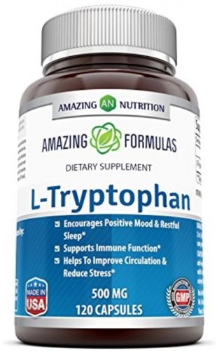 Amazing Formulas L-Tryptophan Dietary Supplement 500 mg 120 Capsules - Natural