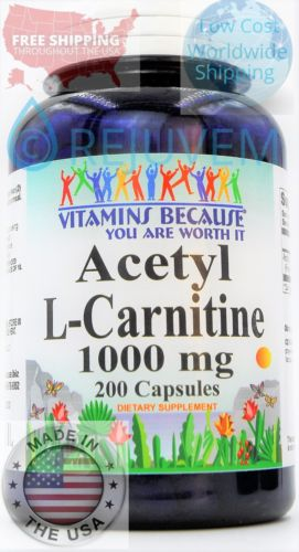 Acetyl L-Carnitine 1000mg Energy- Chronic Fatigue- Focus- Weight Loss 200 caps