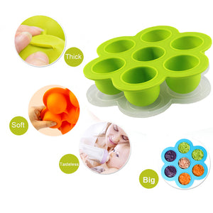 7 Holes Baby Silicone Food Feeding Box Food Grade Silicone Ice Tray with Cover Baby Food Supplement Tray Ice Cube Box