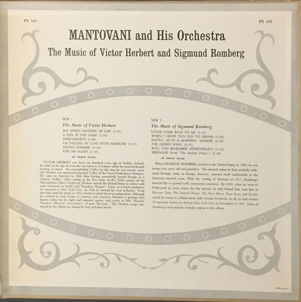 The Music Of Victor Herbert And Sigmund Romberg, Mantovani And His  Orchestra (Vinyl)