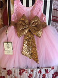 Big Gold Bow Pink Birthday Dress