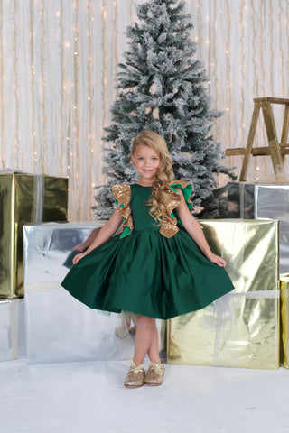 Green Holiday Dress- Itty Bitty Toes Holiday Collection