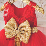 Red and Gold Girls Couture- Itty Bitty Toes