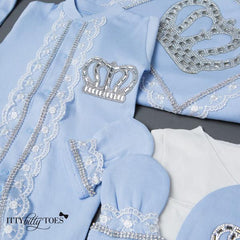Blue Prince Layette Set - itty bitty toes www.ittybittytoes.com