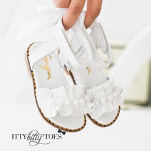 Ruffled Sandals (White) - Shoes - Itty Bitty Toes