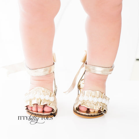 Ruffled Sandals (Gold) - Shoes - Itty Bitty Toes