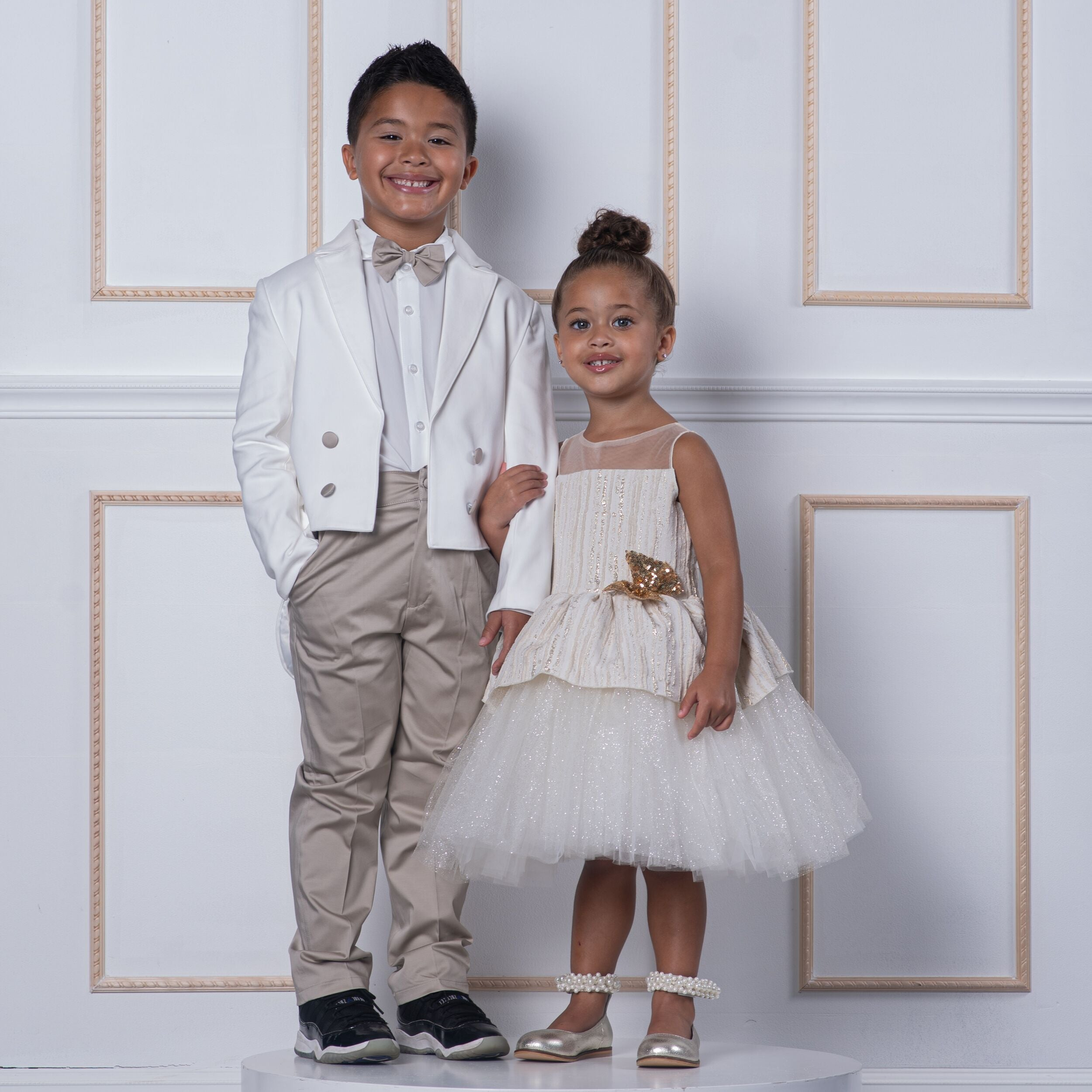 Charles Suit (Taupe & White) - Couture - Itty Bitty Toes