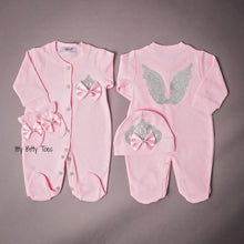 Angel Wings Jewels Set (Solid Pink) - Newborn Set - Itty Bitty Toes