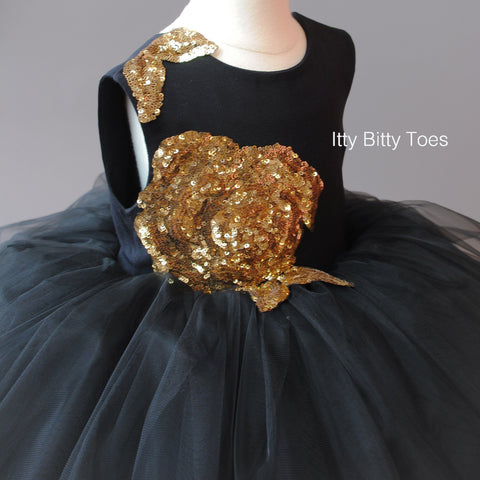 Sasha Dress (Black) - Couture - Itty Bitty Toes