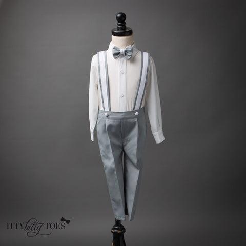 Christiano Suspenders Set (Gray & White)