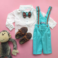 Christiano Suspenders Set (Mint & Brown)