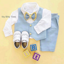 William Vest Set (Blue & Yellow) - Couture - Itty Bitty Toes