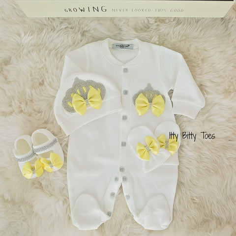 Crown Jewels Set (Yellow) - Newborn Set - Itty Bitty Toes