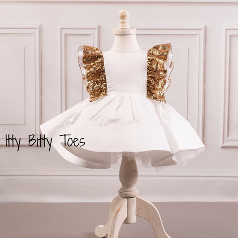 Ezmeralda Dress (White) - Couture - Itty Bitty Toes