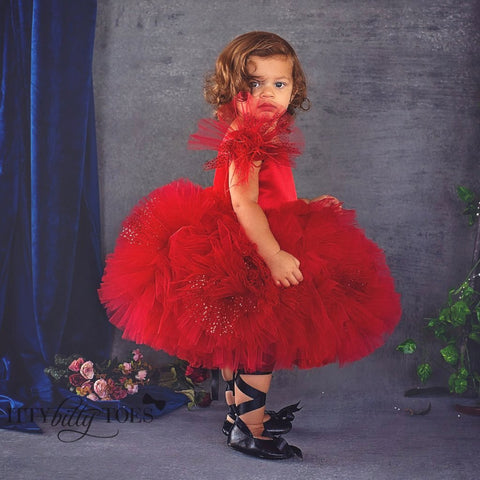 Kloe Dress (Red) - Couture - Itty Bitty Toes