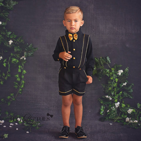 Charlie Shorts Set (Black & Gold) - Couture - Itty Bitty Toes