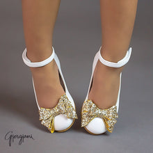 Alba 75 (White & Gold) - Shoes - Itty Bitty Toes